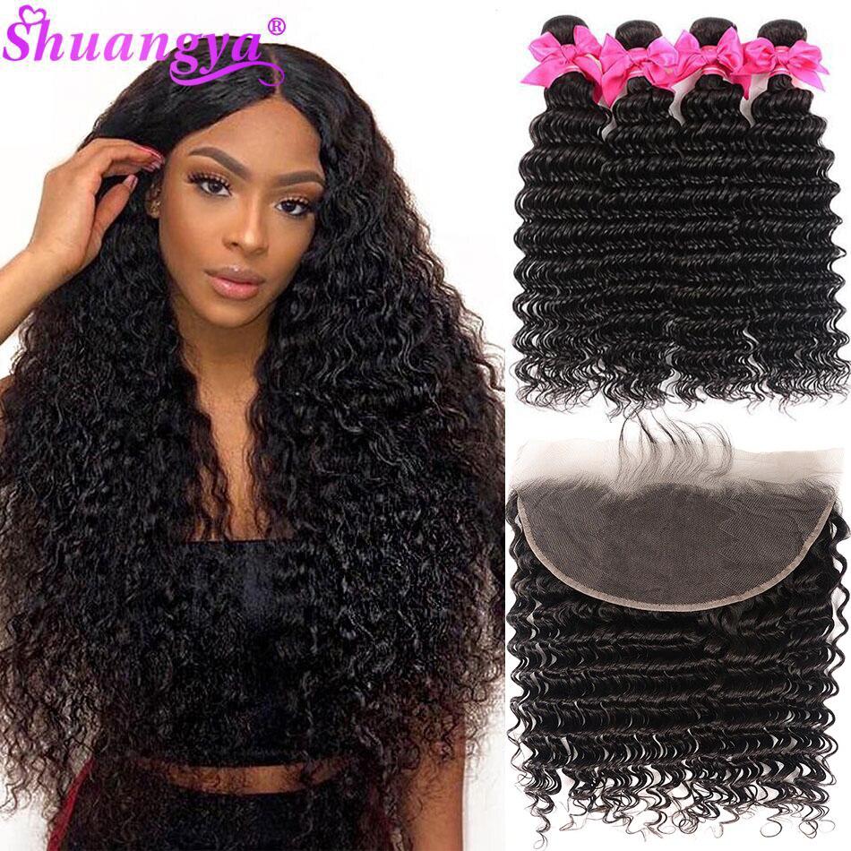 Brazilian Deep Wave Bundles With Frontal 100% Virgin Human Hair 3/4 Bundles With Frontal Shuangya hair Frontal With Bundles